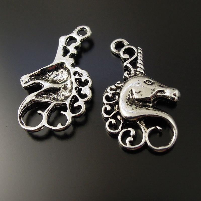 10 pçs / lote Antique prata cabeça de cavalo Alloy pingente encantos jóias encontrar 22 * 15 * 2 mm AU37233 fazendo jóias