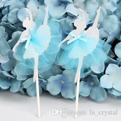 Creative Handmade Lace Ballerina Cupcake Topper Wedding Cake Topper Girl Birthday Cake Decorative Accessory 10pcs/lot DEC067