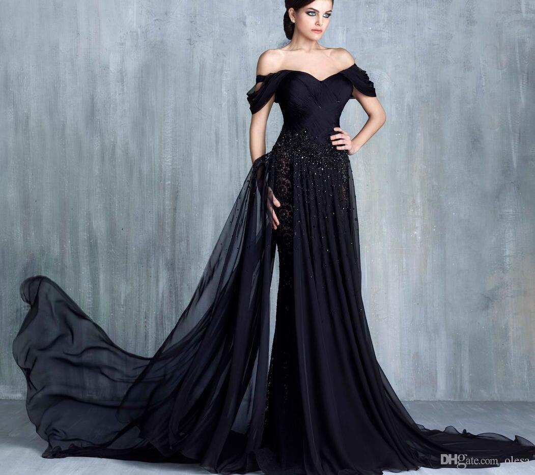 Vestidos De Noiva Arabic Black Evening Dresses 2016 Elegant Off ...