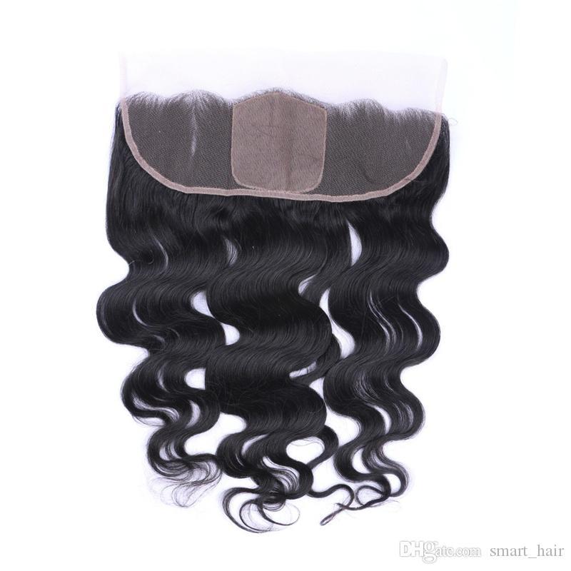 Seda Top 4x4 '' Body Wave Oreja con oreja Frontales de encaje con pelo de bebé Base de seda Cierre de encaje Frontal Nudo blanqueado