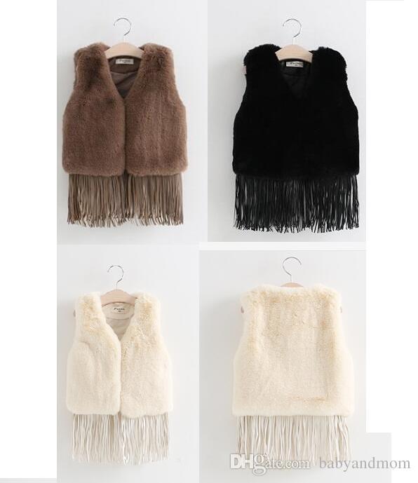 2016 New Kids winter Tassel Fur Waistcoat Children Clothing Fashion Casual Tassel Coat Vest 3 colors