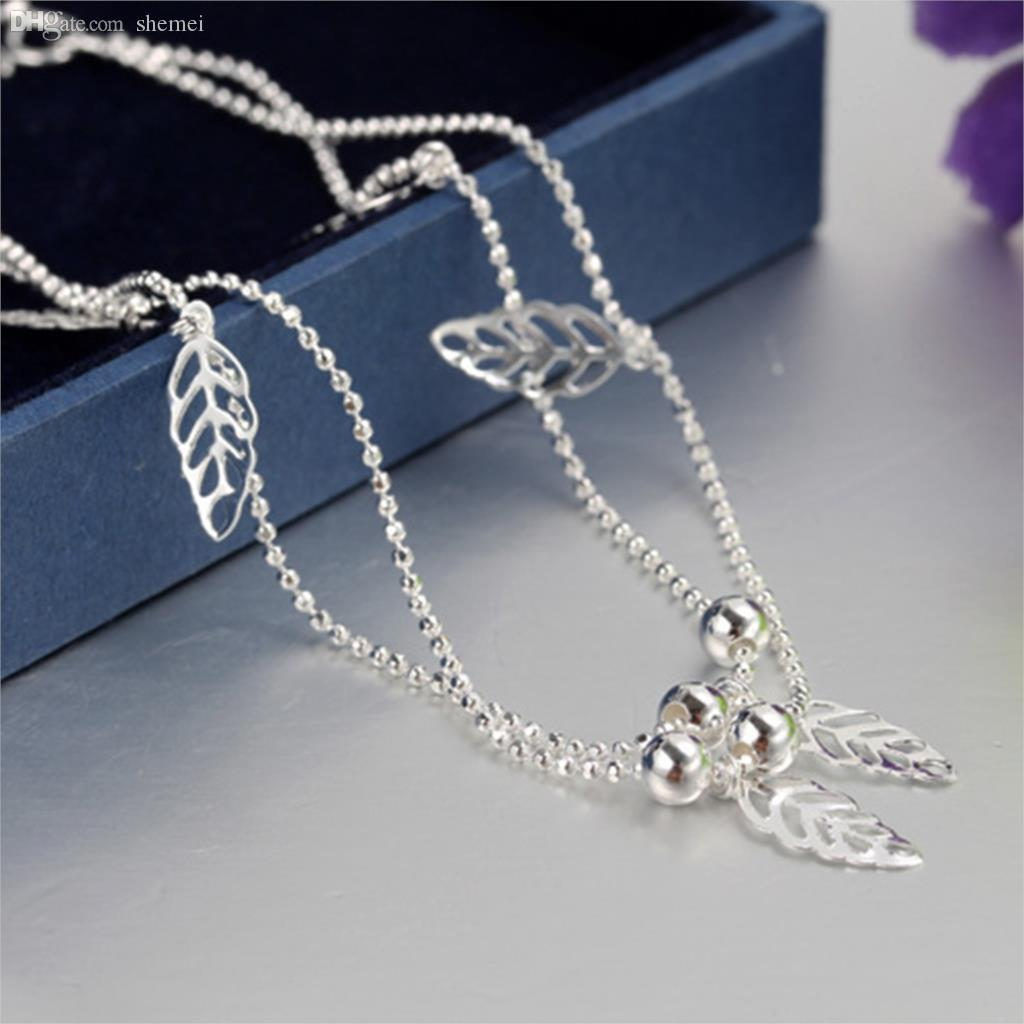 Wholesale-2016 Women 925-Sterling-Silver Anklet Leaf Ankle Bracelet Bead Anklets for Women Fashion Foot Jewelry New Body Chains