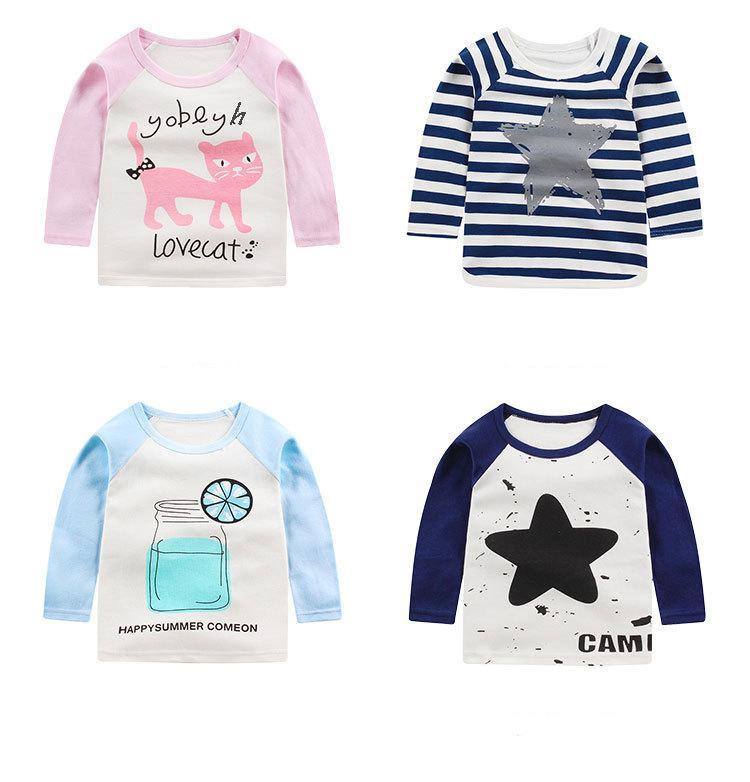 Nouveau Automne Vêtements Enfants Garçons T-shirts Filles Coton T-shirt À Manches Longues Enfants Garçons Filles Cartoon T-shirts Vêtements