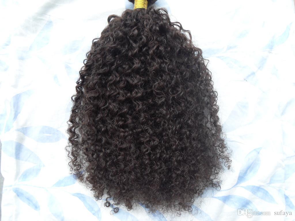 Brazylijskie rozszerzenia ludzkich włosów 9 sztuk z 18 klipsami w kinky Curly Curly Ciemnobrązowy czarny kolor