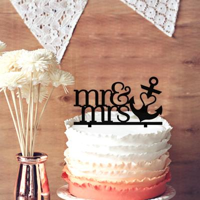 Unforgettable Cake Decoration for Wedding Anniversary, Mr & Mrs with Heart Anchor Wedding Cake Topper - Nautical Beach Cake Topper