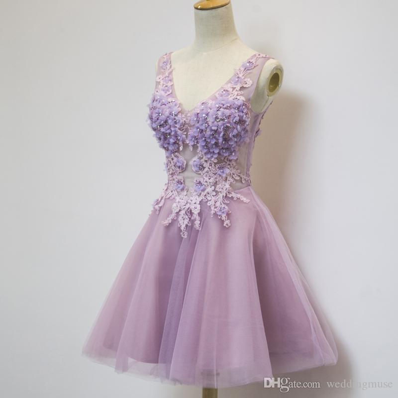 Lavender Short Party Dresses 2021 Homecoming Dresses A Line V Neck 3D Flowers Lace Appliques with Beading and Rhinestones Light Purple Dress