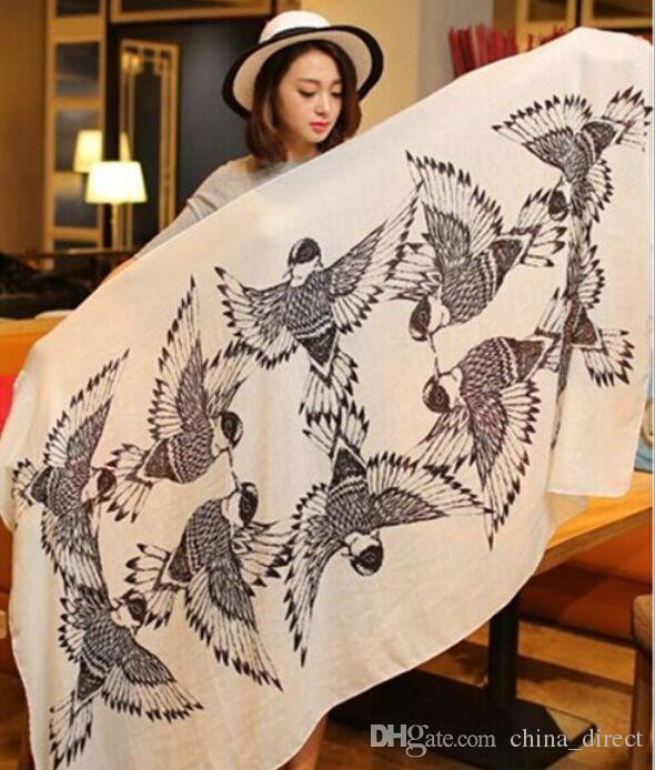 Bomull Bird Print Shawl Scarf Shawl Hijabs Scarves Sarongs Wraps Neckerchief Headband 170 * 100cm # 3267
