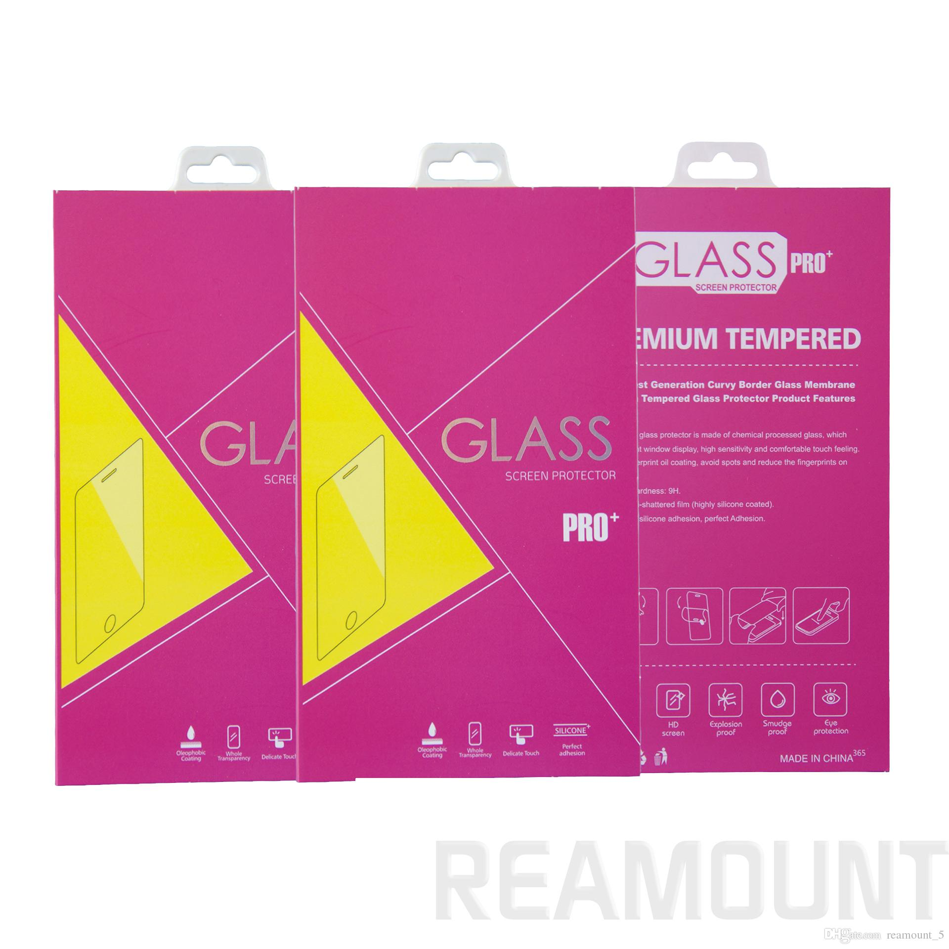 Paper Packaging Package Retail Box with hanger For iphone 8 8 Plus Mobile Phone Tempered Glass Packaging