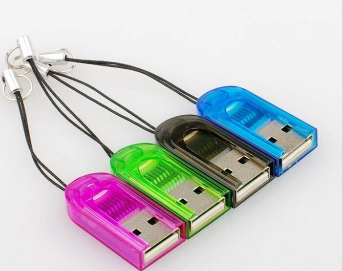 도매 300pcs 작은 열쇠 고리 USB 마이크로 SD SDHC TF 카드 판독기 2GB 4GB 8GB 16GB USB 2.0 Transflash Memroy 카드 판독기