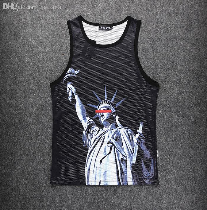 Wholesale-Raisevern harajuku summer sleeveless vintage 3D tank top print the Statue of Liberty sport tops fashion bodybuilding clothes top
