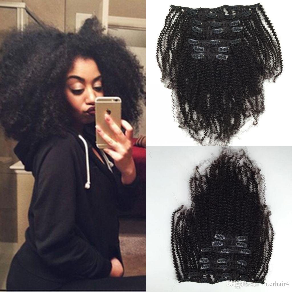 Новая мода афро кудрявый вьющиеся волосы 6 шт. 120 г клип в человеческих волос расширения бразильский девственные волосы продукты волос