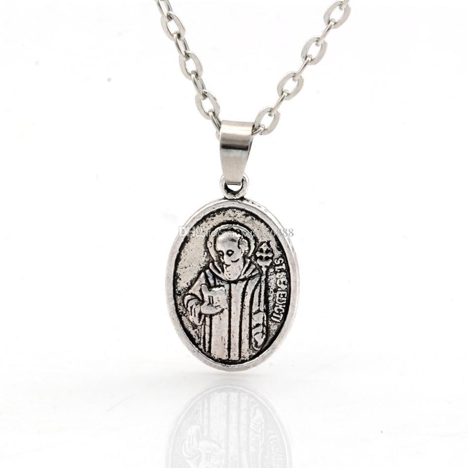 MIC 20 stücke Neue Europäische und amerikanische Mode Simple Antiqued Silber Legierung St. Benedict Charms Anhänger Halskette Clawicle Kette C12