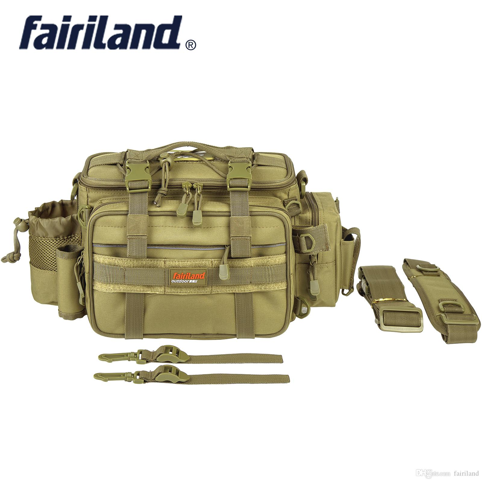 Fairiland 대형 Manly 3 색 낚시 가방 다기능 어깨 허리 낚시 기어 미끼 미끼 릴 야외 가방 태클 저장