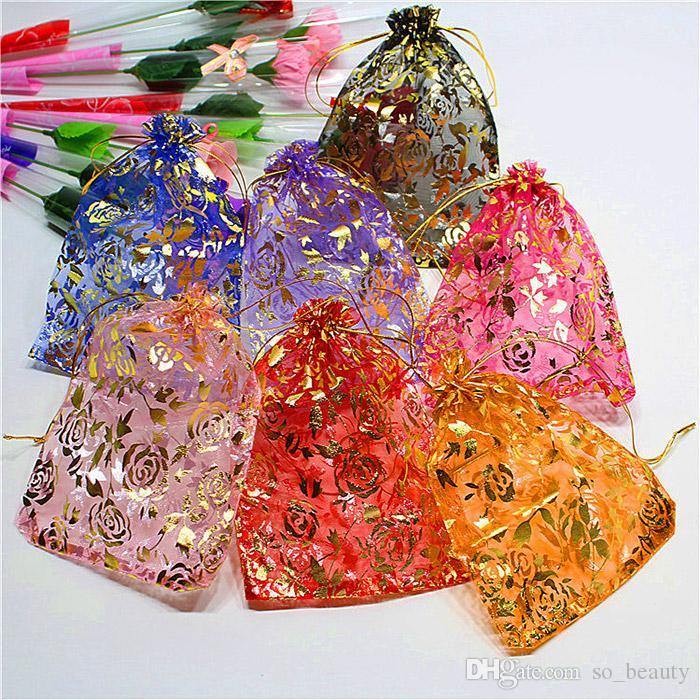 100 unids oro rosa organza embalaje bolsas de joyería bolsas de joyería favoritos boda fiesta de regalo de navidad 5 x 7 pulgadas