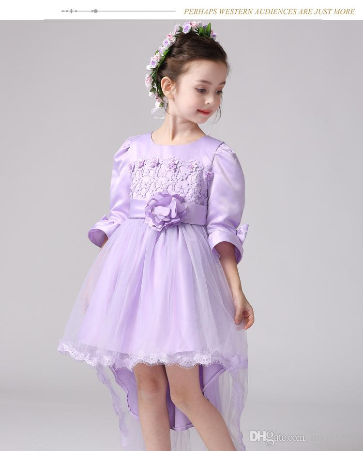 White lace dresses short front long back dresses Baby Girl Birthday ...