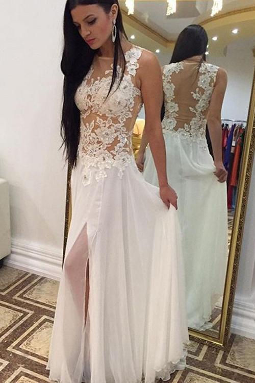Alta calidad una línea joya piso longitud blanco marfil gasa vestidos de novia Alta Split apliques encaje escarpado espalda nupcial vestidos de novia