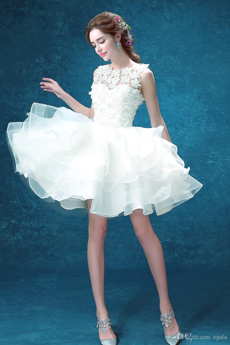 Discount T36 Vestidos Vestido De Novia Sheer Lace Short Mini Wedding ...