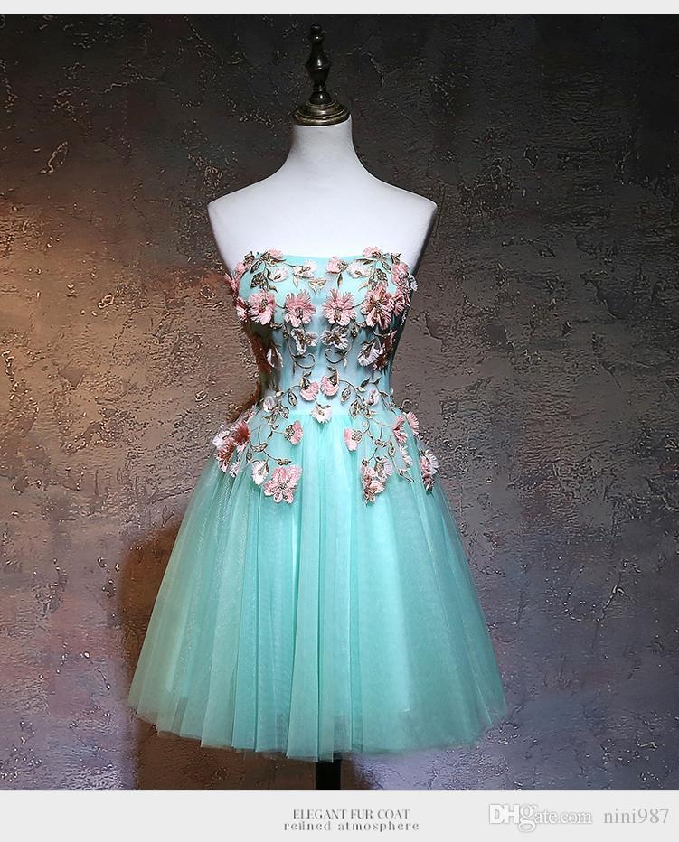 여성을위한 도매 높은 품질의 이브닝 드레스 2018 새로운 디자인 자수 꽃 A 라인 블루 그린 저렴한 짧은 저녁 댄스 파티 가운
