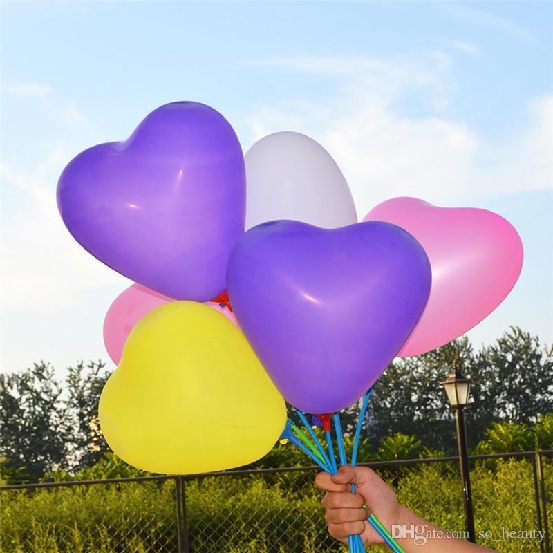 Palloncini a forma di cuore in lattice 100 pezzi e supporti per bastoncini Colori Palloncino di perle Festa di nozze Buon compleanno Anniversario Decor 10 pollici nuovo
