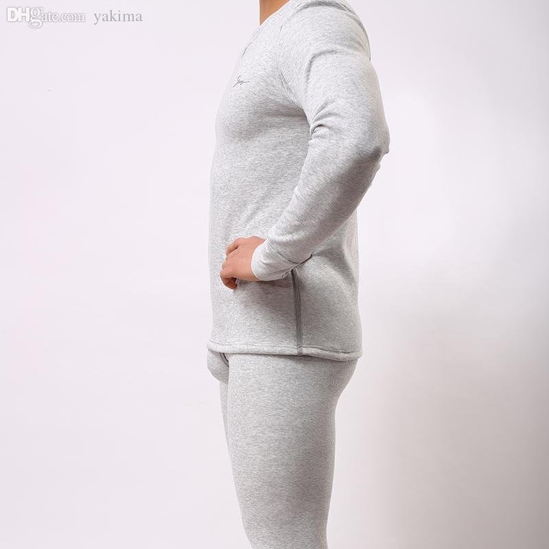 Wholesale-2016 Men Winter Warm Fleece Thermal Underwear Sets Mens Long Johns Sexy Thermal Underwear Sets Thick Velet Long Johns For Man