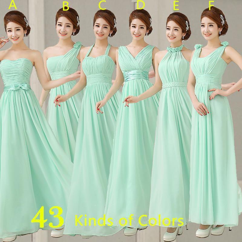 Compre Vestidos De Color Menta Baratos Vestido Largo Para Dama De Honor De Gasa Larga Una Línea Vestido De Novia De Dama De Honor Plisada Para Fiesta