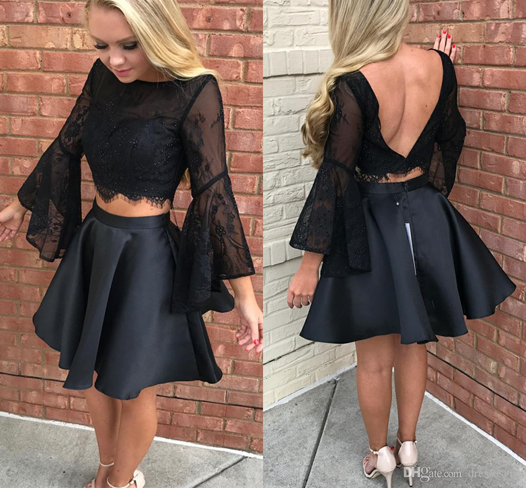 beautiful design new product limited price Little Black Two Piece Homecoming Dresses 2017 Sheer Lace Short Prom Dress  With Sleeves Backless A Line Formal Party Gowns Classy Homecoming Dresses  ...