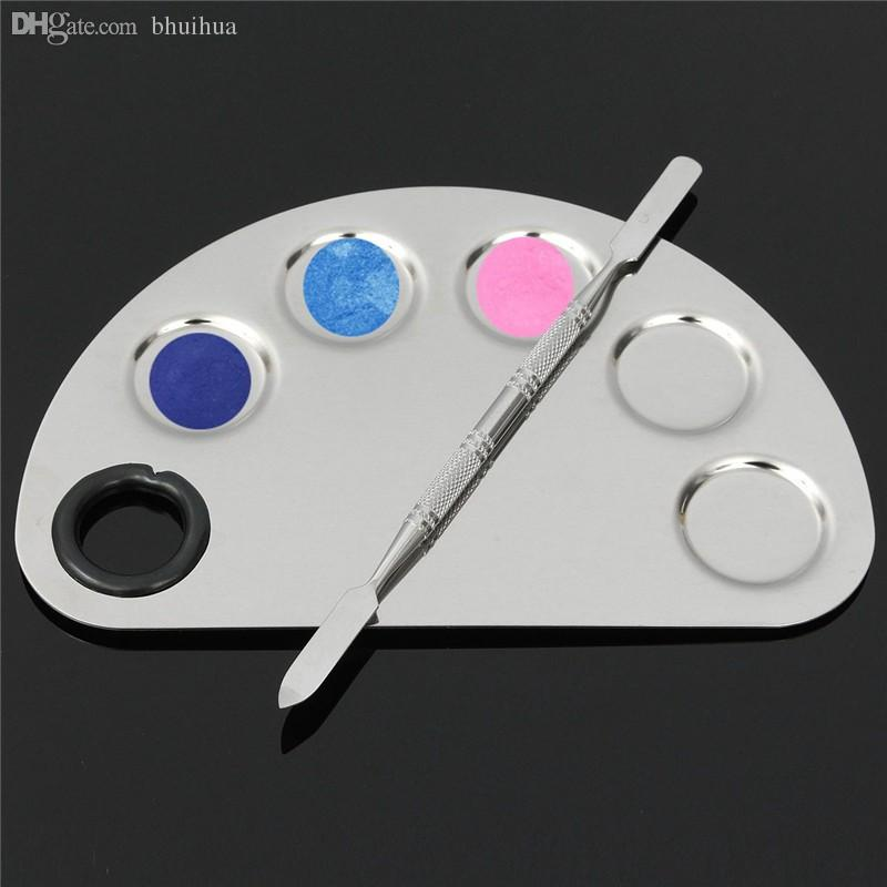 Wholesale-Makeup Artist Palette Cosmetic Stainless Steel Mixing Spatula Palette Makeup Tool Kit Five-hole Shape Pro High Quality Set