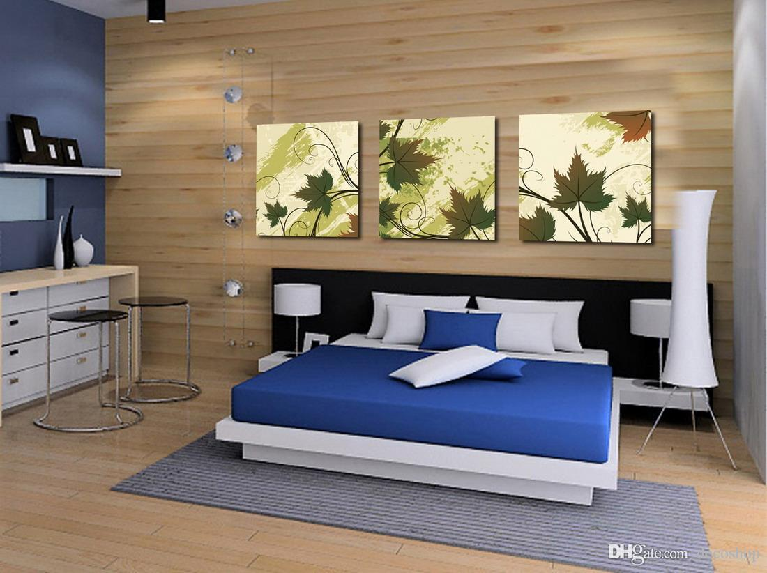 Moderna Bella foglia verde Fine Floral Painting Stampa giclée su tela Home Decor Wall Art Set30167