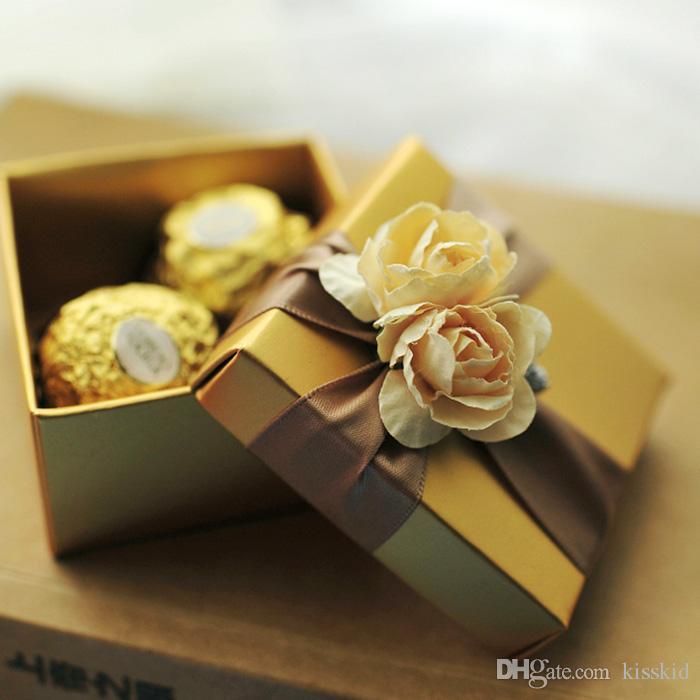 10pcs 우아한 황금 사탕 골드 로즈와 리본 결혼 선물 파티 상자 새로운