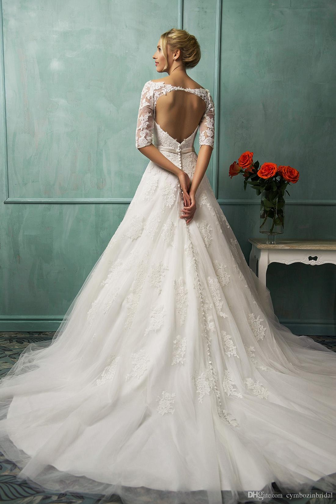 Unique Heart Shape Backless Wedding Dress Simple A Line Sweep Train Jewel Neck Lace Applique