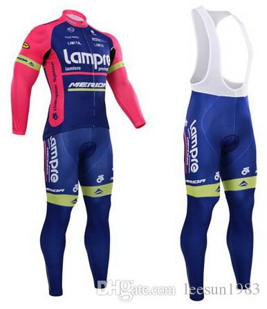 Зима флис тепловой велоспорт длинные Джерси + нагрудник брюки 2014 LAMPRE MERIDA команда синий-выбрать размер: XS-4XL L49