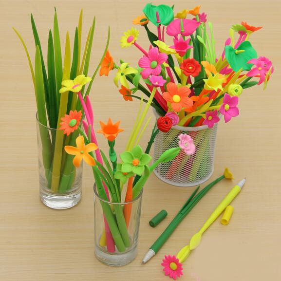 All'ingrosso-3Pcs / Lot bella erba morbida penna gel di silicone penna creativa 0.38mm nero rullo penna a sfera fiori di rosmarino escolar materiale