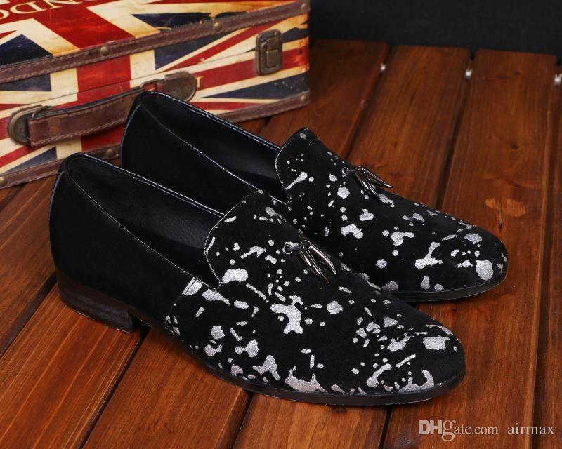 성격 망 블랙 캐주얼 로퍼 신발 패션 낙서 슬립 플랫 신발 남자 신발 크기 38-46