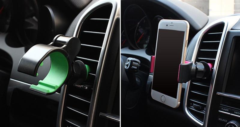 2pc coloré téléphone portable universel 360 angle réglable support de sortie de ventilateur de voiture air vent mount