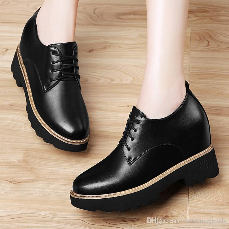 c7d1e8e8d711c Womens Casual Shoes Girls Flats Shoes Leather Shoes Women Pu Leather  Creepers Oxfords Platform Flats Lace Up Artificial Shoes 8495 34 39 Cheap  Shoes ...