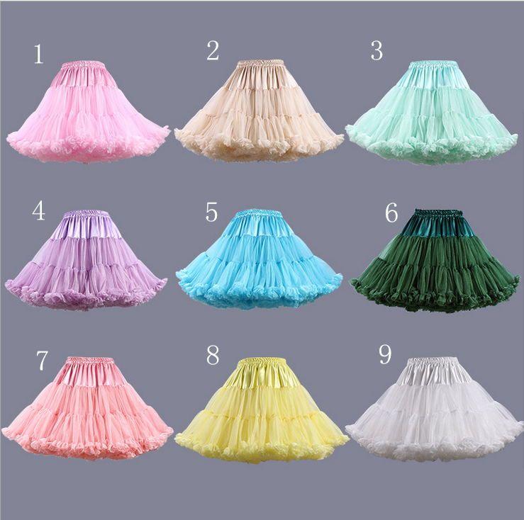 الملونة قصيرة رخيصة قماش قطني تنورات الكشكشة تنورات الزفاف فساتين الزفاف الفتيات تحتية زائد الحجم تنورات شحن سريع