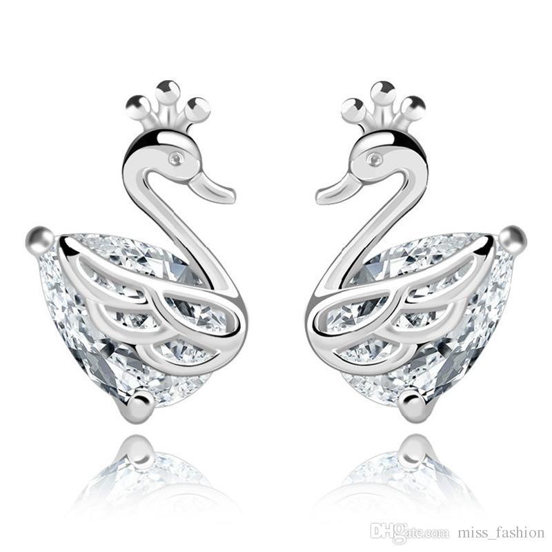 925 itens de prata esterlina brinco de cristal brincos de diamante cisne em forma de casamento nova chegada encantos menina do vintage