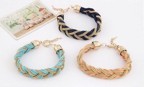Nouveau Mode Charmes Punk Bracelet Vintage En Métal Tissé Enroulement Tressé Corde Bracelet Multicolore Creative Femmes Bijoux ZA0028