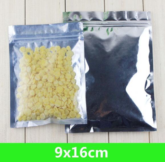 """새로운 9 * 16cm 3.5 * 6.3 """"알루미늄 호일 / 클리어 recomeable 밸브 지퍼 플라스틱 소매 포장 포장 가방 지퍼 록 가방 파우치 polybag"""