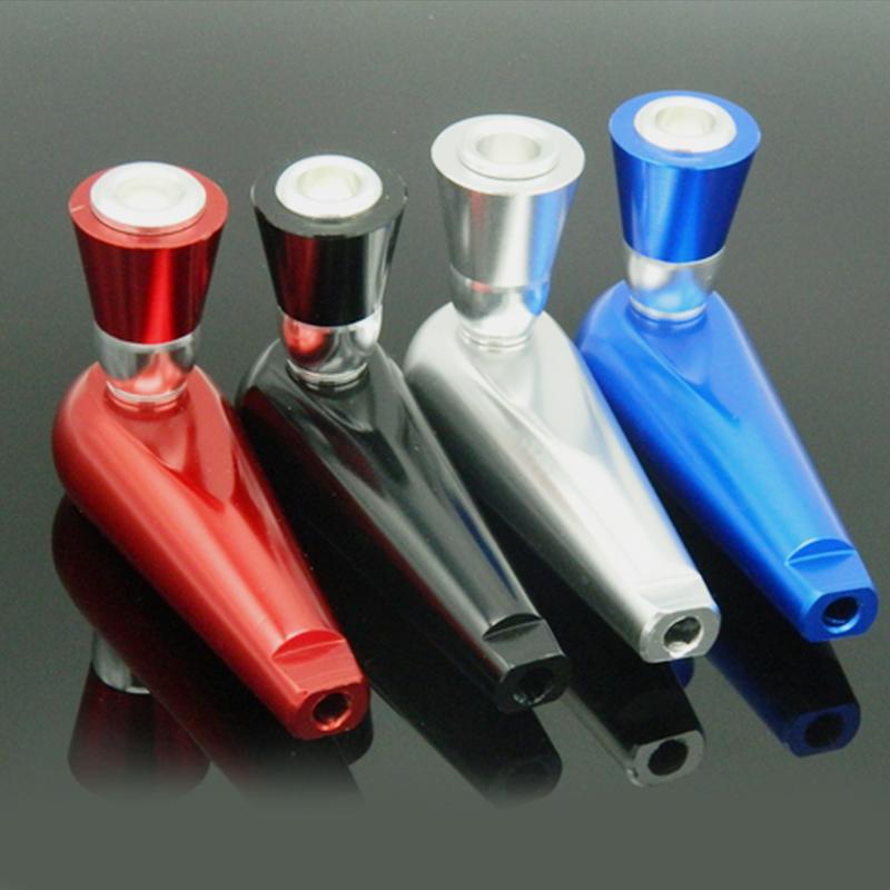 herb tobacco metal aluminum cigarette smoking pipe 4 colors also offer water glass pipe titanium quartz ceramic nail grinder for single sale