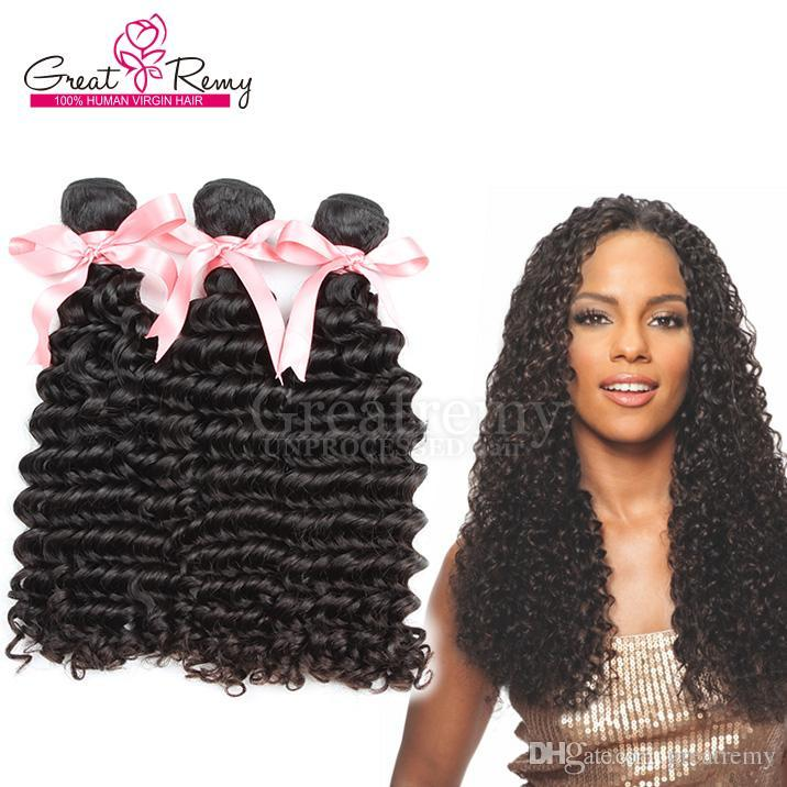 """Top Human Extension 7A Natural Color Dyeable Malaysion Unprocessed Hair Weft Deep Wave 8""""~30"""" Double Weft 3PCS/LOT GREATREMY Drop Shipping"""