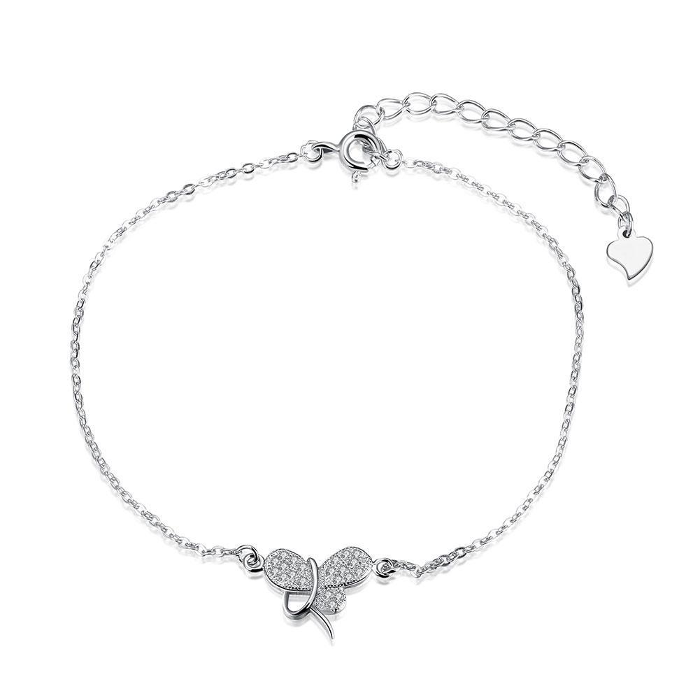 """925 Sterling Silver Cubic Zirconia CZ Butterfly Chain Bracelet 8.66"""""""