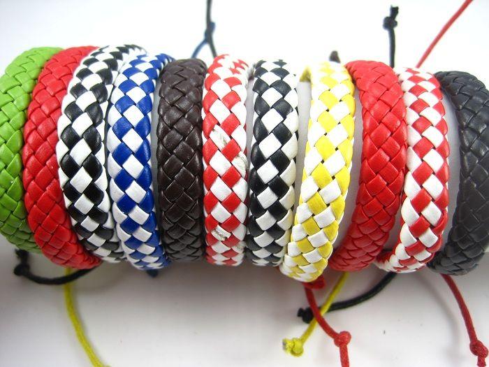 Оптовая навалом много 30 шт. Смешать различные стили плетеные мужские женские ретро старинные кожаные манжеты браслеты новый