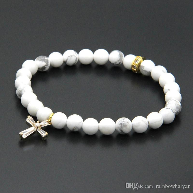 Easter Wholesale 10pcs/lot 6mm Natural White Howlite Marble Stone Beads with Micro Paved Clear Zircons Spacer Cz Beads Cross Bracelets