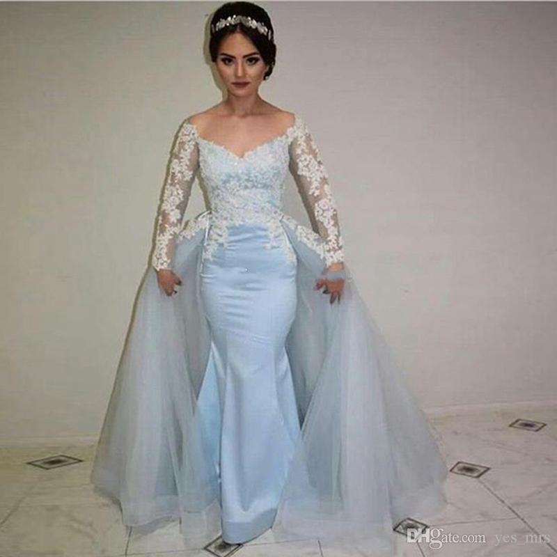 Abiti da sera 2017 Sweetheart Appliques in pizzo bianco Cielo blu Satin Mermaid Sheer maniche lunghe oversize Convenzionale Dress Party Dress Prom Gowns