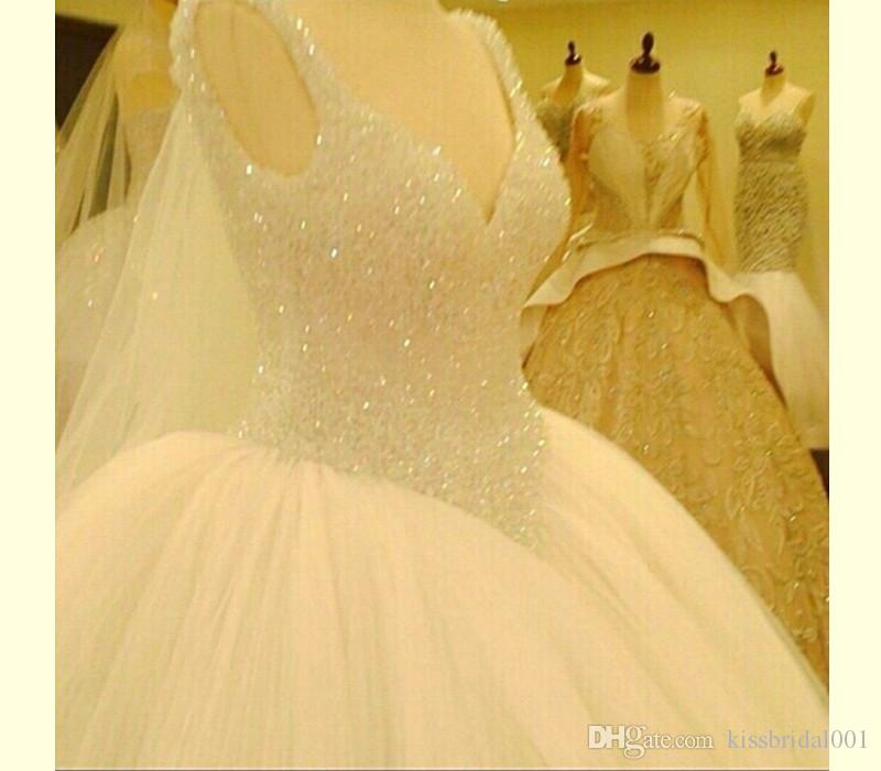 Bead White Gorgeous Princess Wedding Dress Bridal Ball Gown Size 6 8 10 12 14 16