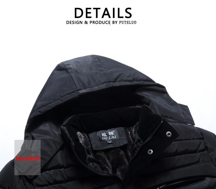Acquista Piumino Da Uomo Addensato Piumino Invernale Casual Solido Cappotto Nuovo 2017 Marca Outwear Di Mezza Età Colletto Con Cappuccio In Cotone