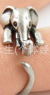 Anelli dell'animale dell'elefante per le donne e le ragazze Anello aperto dei gioielli svegli Partito d'argento all'ingrosso del regalo di colore di Brown