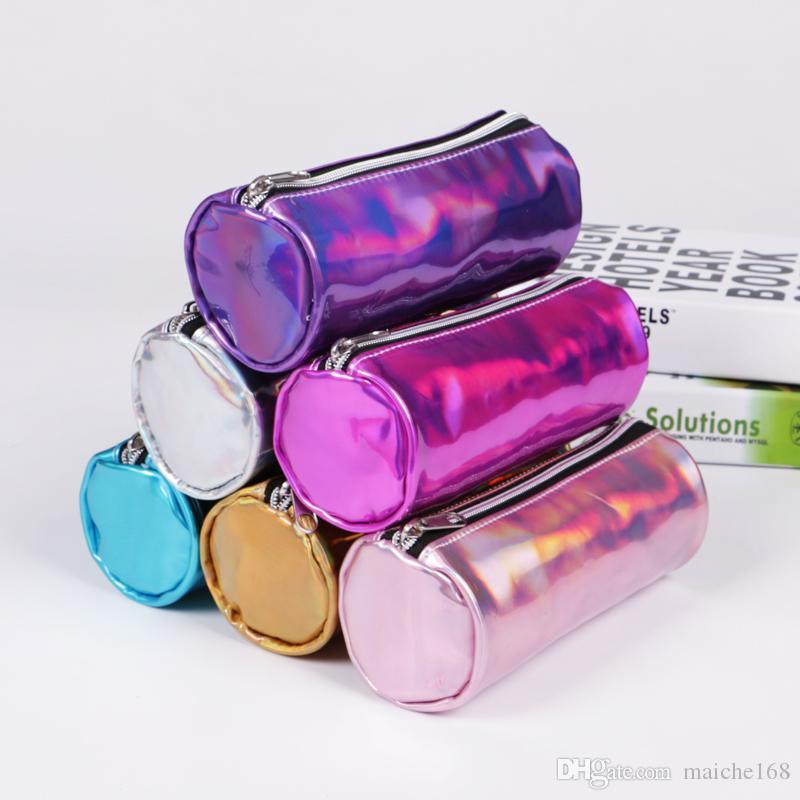 6 pcs Estudante lápis saco coleção a laser de material de aprendizagem colorido saco de cosméticos à prova d 'água