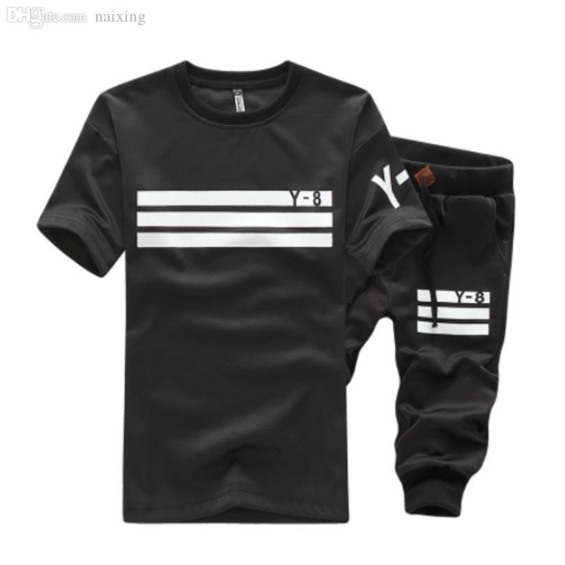 Wholesale-2016 Summer Fashion Good Quality Sweat Suits Men Casual Stripe Sport Suit Men Leisure Short Mens Tracksuit Set 4XL 5XL